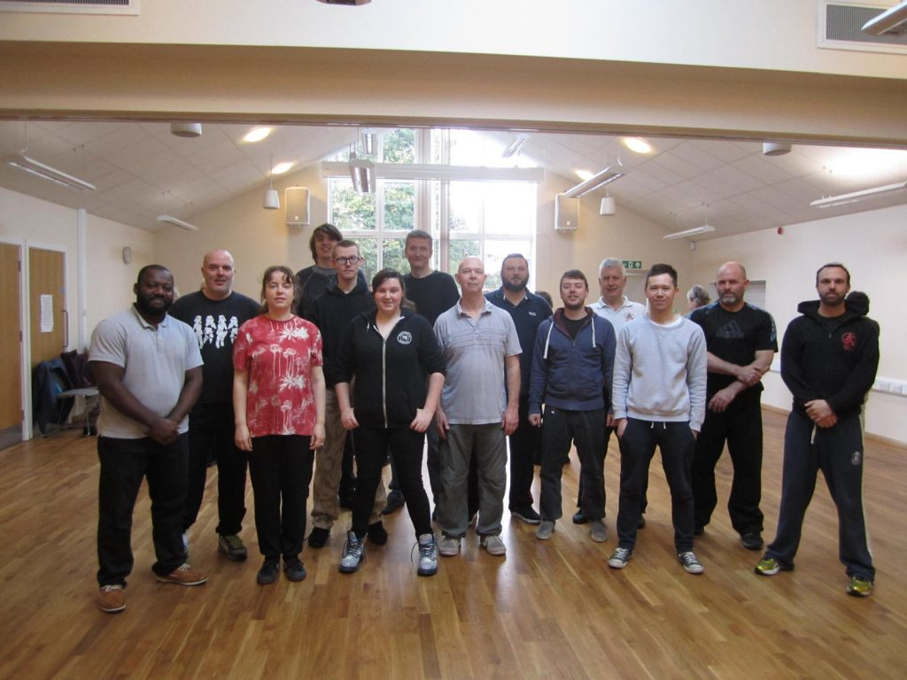 Class group photo of martial arts students